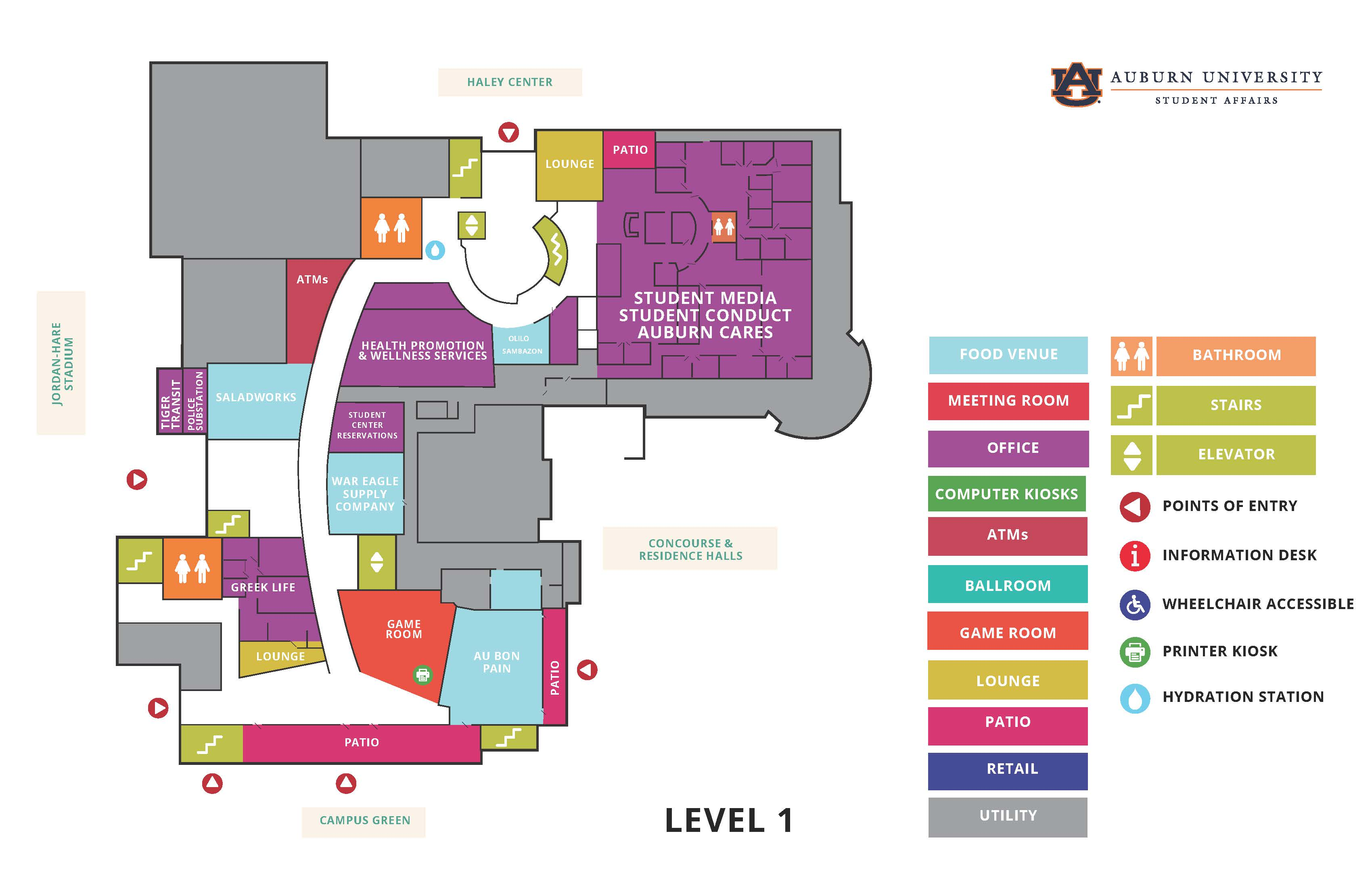 Student Center Map - 1st floor