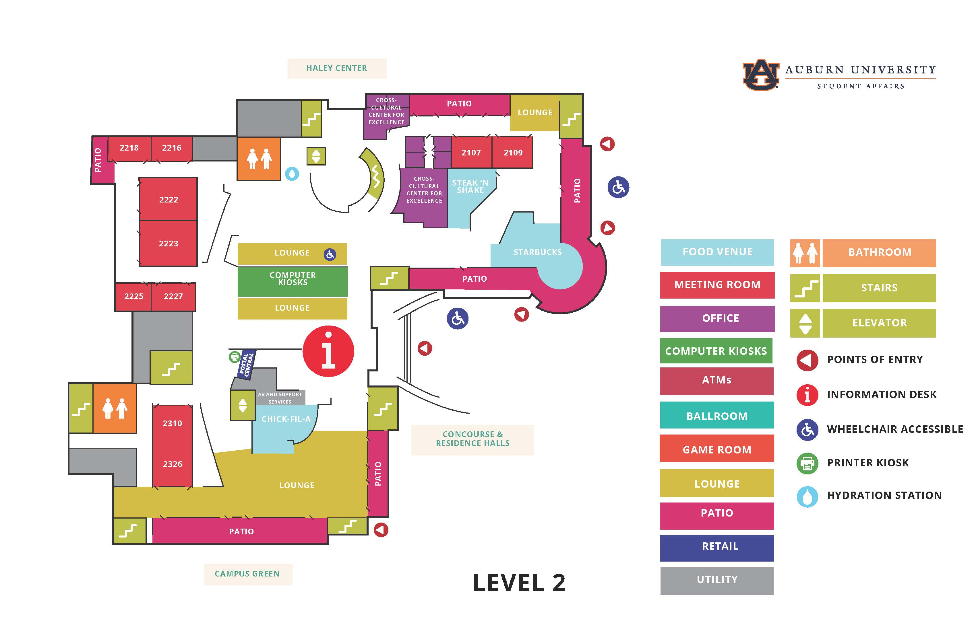 Student Center Map - 2nd floor