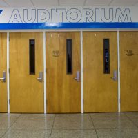 The entrance to Foy Auditorium